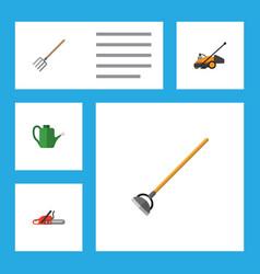 Flat icon dacha set of hacksaw bailer tool and vector