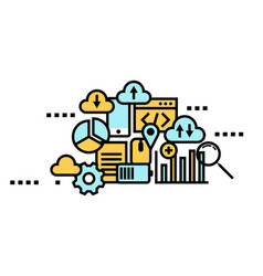 flat line icon art style concept cloud computing vector image