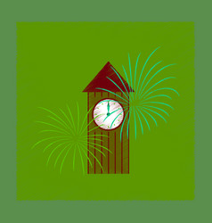 Flat shading style icon christmas clock vector