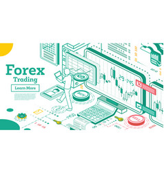 Forex trading outline isometric concept vector