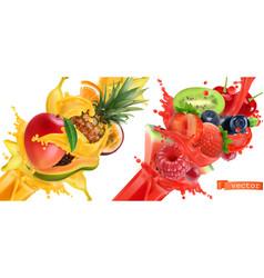 Fruit burst splash juice sweet tropical fruits vector