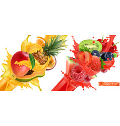 fruit burst splash of juice sweet tropical fruits vector image