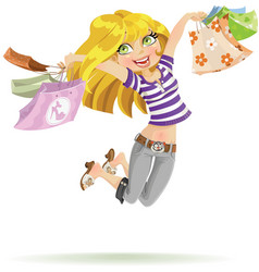 Girl shopaholic with shopping bags on white vector