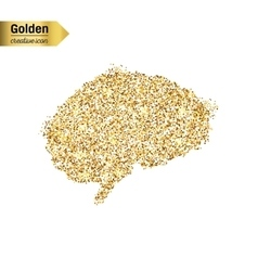 Gold glitter icon of Brain isolated on vector image