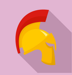 gold sparta helmet icon flat style vector image