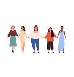 group diverse different heigh and weigh woman vector image