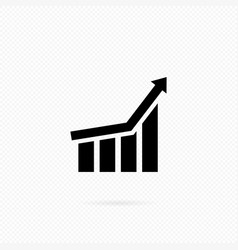 growing graph icon in black bar chart infographic vector image