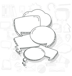 Hand draw chat bubbles vector