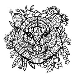 hand drawn doodle outline tiger head vector image