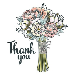 Hand drawn garden floral Thank you card Hand drawn vector