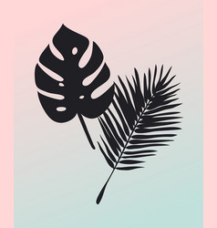 hand drawn summer set of palm leaves tropical vector image