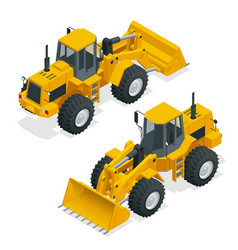 isometric yellow bulldozer vector image