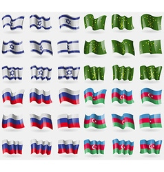 Israel Adygea Russia Azerbaijan Set of 36 flags of vector