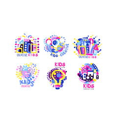 kids creative labels collection children vector image