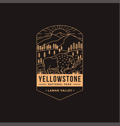 Lamar valley yellowstone national park patch vector