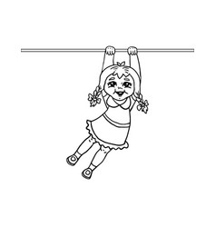 Little girl hanging on a horizontal bar vector