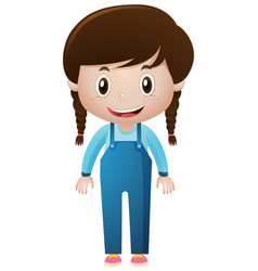 Little girl in blue overall vector
