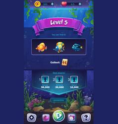 Mahjong fish world - mobile format level field vector