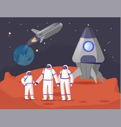 Mars or alien planet colonization concept vector