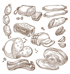 meat products and sausages monochrome sepia vector image