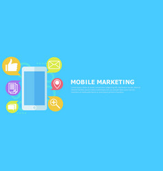 mobile marketing banner phone with icon mail vector image