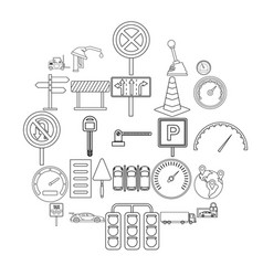 mover icons set outline style vector image