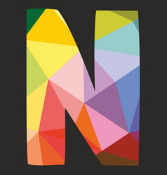 N low poly colorful alphabet letter isolated vector