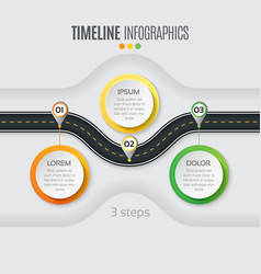 Navigation map infographic 3 steps timeline vector