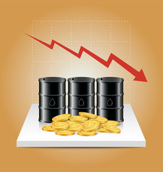 Oil industry concept oil price falling down graph vector