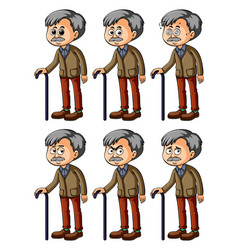 Old man with different facial expressions vector