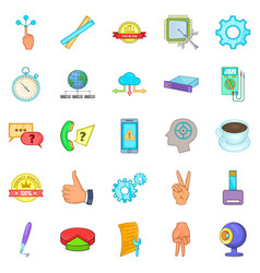 online support icons set cartoon style vector image