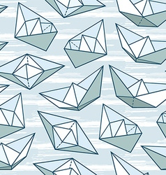 Origami ship pattern vector