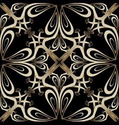Ornate gold arabesque paisley seamless pattern vector