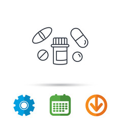 Pills icon pharmacy bottle sign vector