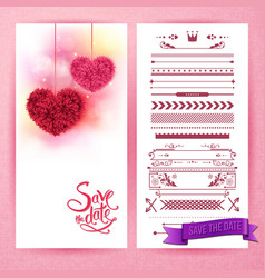 pink save the date hearts and icons vector image