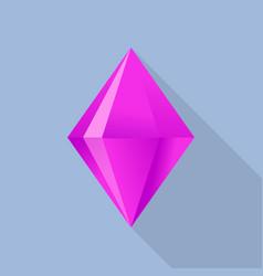 Pink tourmaline stone icon flat style vector