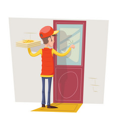 pizza box delivery boy man concept knocking at vector image
