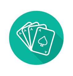 poker ace quads flat linear long shadow icon vector image