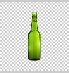 realistic green glass beer bottle isolated object vector image
