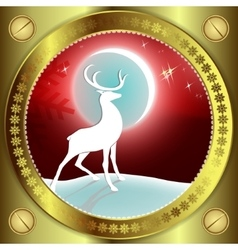 Red Christmas design with reindeer vector