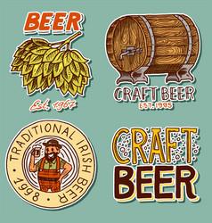 Retro beer barrel bavarian man green hops vector