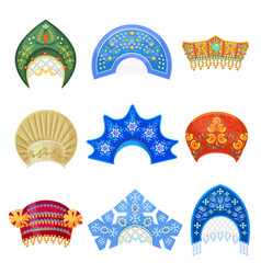 russian kokoshnik traditional hat with ornament vector image