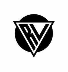 Rv logo with negative space triangle and circle vector