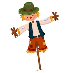 Scarecrow wearing green hat vector