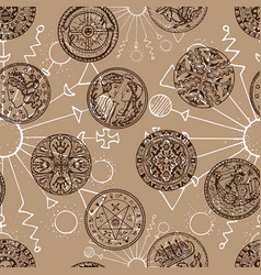 seamless background with ancient coins vector image