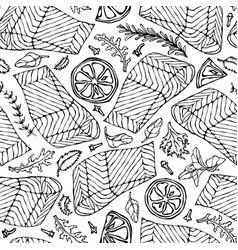 Seamless pattern of salmon fillet lemon vector