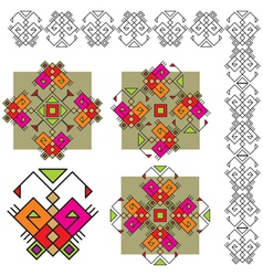 Set butterfly ethnic ornaments vector