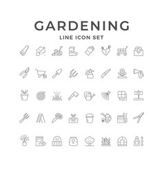 set line icons gardening vector image