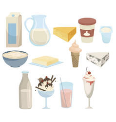 set milk products collection dairy products vector image