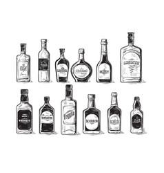 Set of bottles for alcohol vector